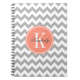 Gray Chevron with Coral Monogram Notebook