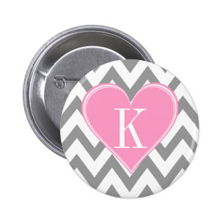 Gray Chevron with Pink Heart Monogram Buttons