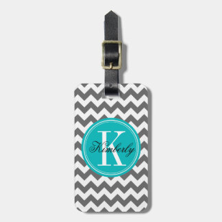Gray Chevron with Teal Monogram Luggage Tag