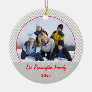 Gray chevron zigzag christmas photo ornament