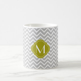 Gray Chevron Zigzag Stripes with Monogram Coffee Mug