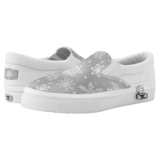 Gray Christmas snowflake pattern slip on shoes