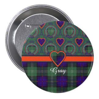 Gray clan Plaid Scottish kilt tartan 7.5 Cm Round Badge