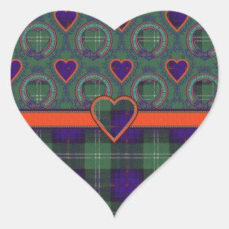 Gray clan Plaid Scottish kilt tartan Heart Stickers