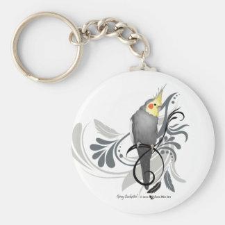Gray Cockatiel Key Ring