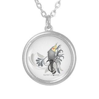 Gray Cockatiel Silver Plated Necklace