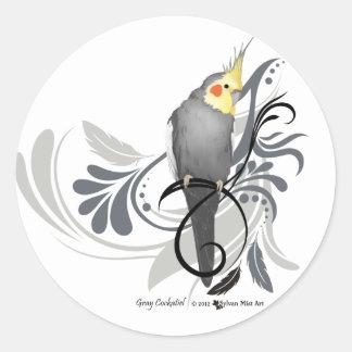 Gray Cockatiel Round Sticker