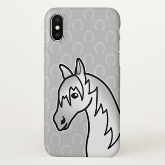 Gray Color Horse Head Cartoon Illustration iPhone X Case