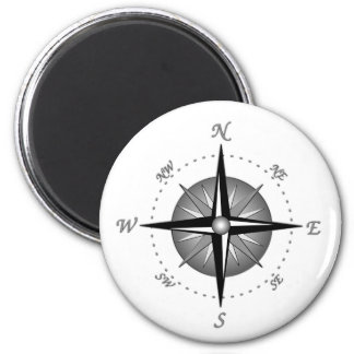 Gray Compass Rose 6 Cm Round Magnet