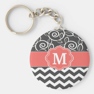 Gray Coral Chevron Monogram Key Chain
