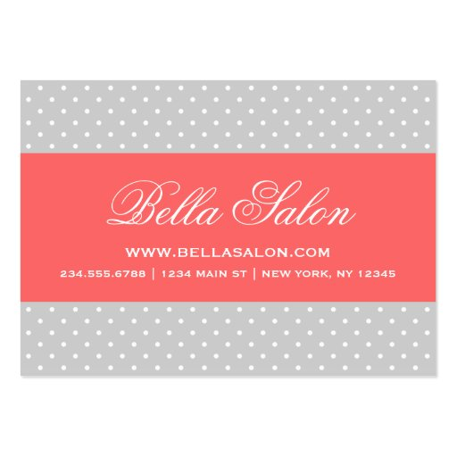 Create your own beauty therapist business cards page15 gray coral cute modern polka dots business card templates reheart Choice Image