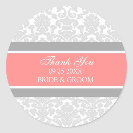 Gray Coral Damask Thank You Wedding Favor Tags Round Sticker