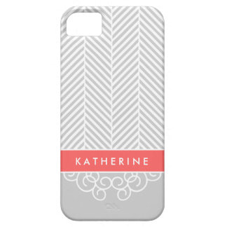 Gray & Coral Herringbone Swirl Custom Monogram iPhone 5 Cover