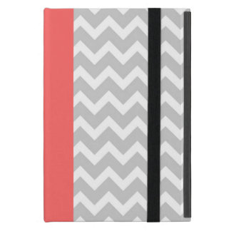 Gray & Coral Modern Chevron Stripes iPad Mini Cover