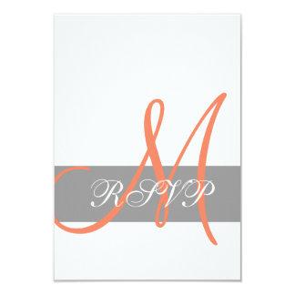 Gray Coral Monogram Wedding RSVP Card