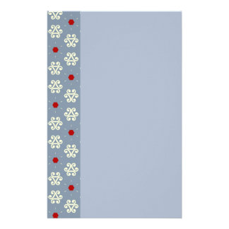 Gray Cream Red Decorative Pattern Stationery