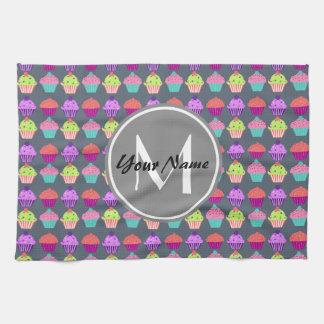 Gray Cupcakes, Personalized Name Monogram Tea Towel