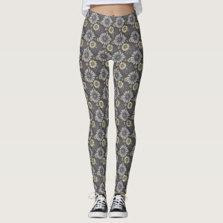 Gray Daisy Pale Yellow Pattern Legging