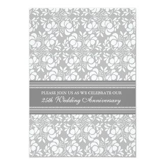 Gray Damask 25th Anniversary Party Invitation