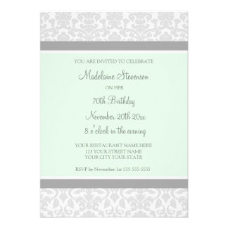 Gray Damask 70th Birthday Party Invitations