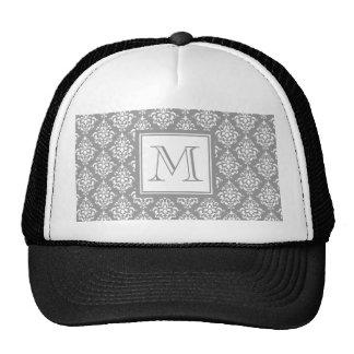 Gray Damask Pattern 1 with Monogram Mesh Hat