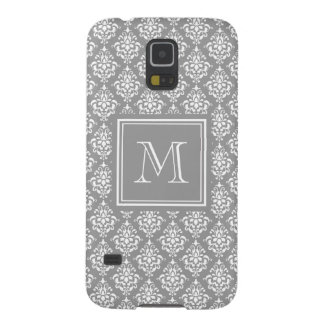 Gray Damask Pattern 1 with Monogram Case For Galaxy S5