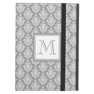 Gray Damask Pattern 1 with Monogram Case For iPad Air