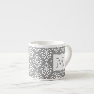 Gray Damask Pattern 1 with Monogram Espresso Cup
