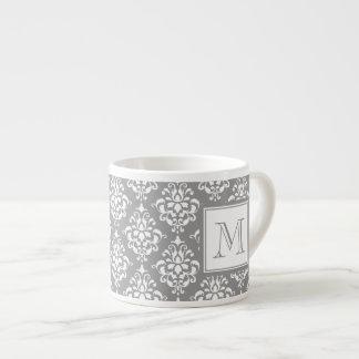 Gray Damask Pattern 1 with Monogram Espresso Mug