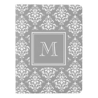 Gray Damask Pattern 1 with Monogram Extra Large Moleskine Notebook