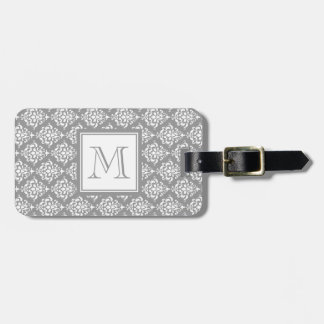 Gray Damask Pattern 1 with Monogram Luggage Tag