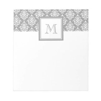 Gray Damask Pattern 1 with Monogram Notepad