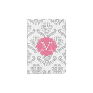 Gray Damask Pattern Monogram Passport Holder