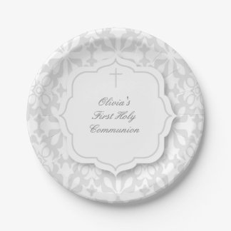 Gray Damask Pattern with Cross 7 Inch Paper Plate
