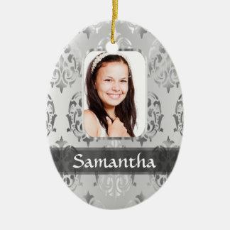 Gray damask personalized photo border christmas ornament