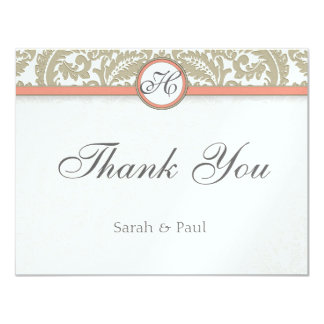 Gray Damask with Coral & Gray Wedding Thank You Card