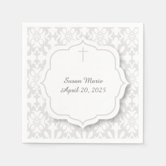 Gray Damask with Decorative Tag and Cross Paper Napkin