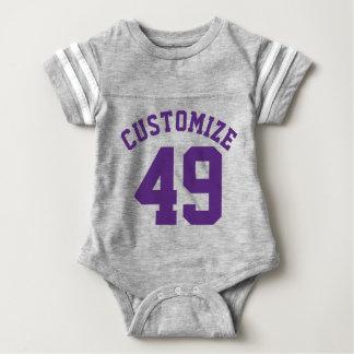 Gray & Dark Purple Baby | Sports Jersey Design Baby Bodysuit