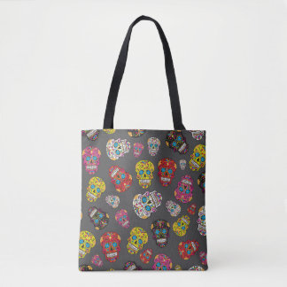 Gray Day of the Dead Colorful Sugar Skull Tote Bag