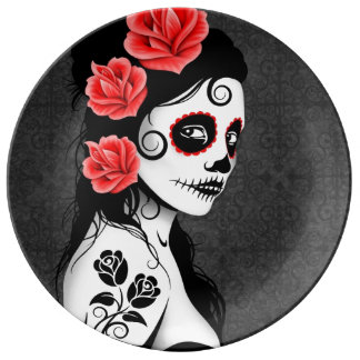 Gray Day of the Dead Sugar Skull Girl Plate