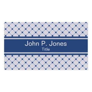 Gray Diamond and Navy Pattern Business Card