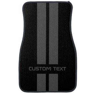 Gray Double Stripe Car Mats - with custom text Car Mat