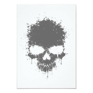 Gray Dripping Splatter Skull Custom Invites