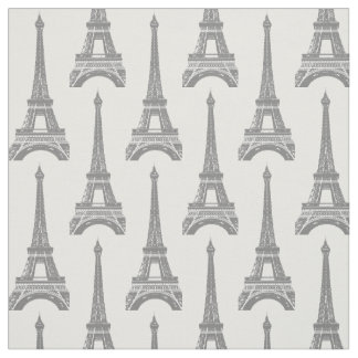 Gray Eiffel Tower Pattern Fabric