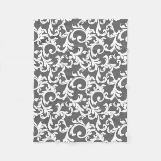 Gray Elegant Damask Print Fleece Blanket