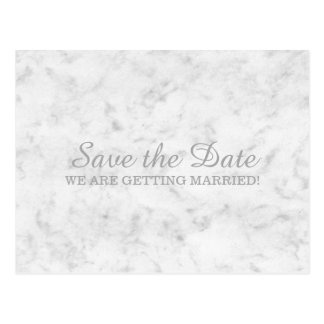 Gray Elegant Marble Save the Date Postcard