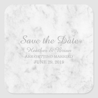 Gray Elegant Marble Save the Date Square Sticker