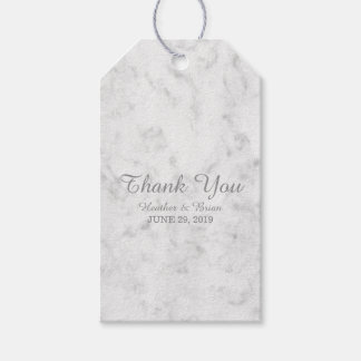 Gray Elegant Marble Wedding Gift Tags