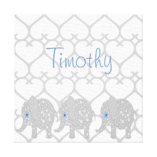 Gray Elephant Baby Nursery Canvas Art Print