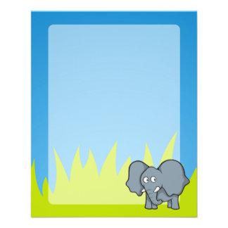 Gray elephant cartoon 11.5 cm x 14 cm flyer